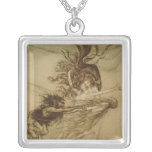 The Rhinemaidens teasing Alberich Square Pendant Necklace