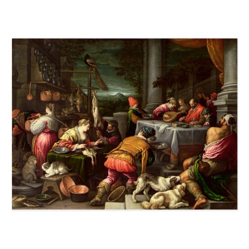 The Rich Man and Lazarus 1590_95 Postcard