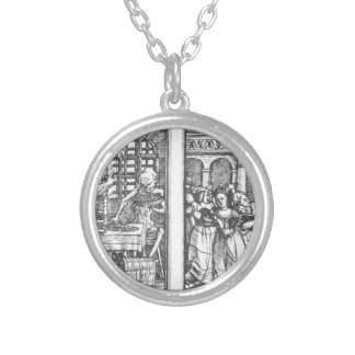 The Rich Man The Queen by Hans Holbein the Younger Round Pendant Necklace