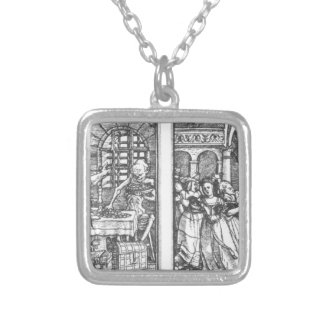 The Rich Man The Queen by Hans Holbein the Younger Square Pendant Necklace