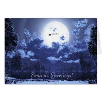 blue christmas, holiday, santa, sleigh, reindeer, flying reindeer, full, moon, Card with custom graphic design