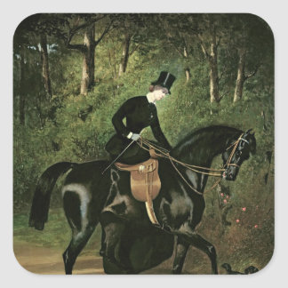 The Rider Kipler on her Black Mare Square Sticker