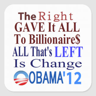The Right Gave It All To Billionaires Square Stickers