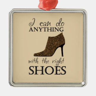 The Right Shoes Square Metal Christmas Ornament