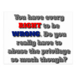 The Right to be Wrong Postcard