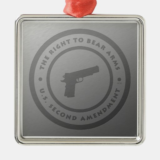 The Right To Bear Arms Square Metal Christmas Ornament