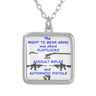 The right to bear arms square pendant necklace