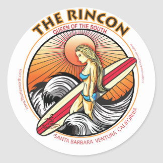 THE RINCON CALIFORNIA SURFING ROUND STICKERS