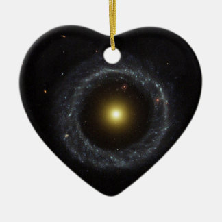 The ring galaxy torch light Double-Sided heart ceramic christmas ornament