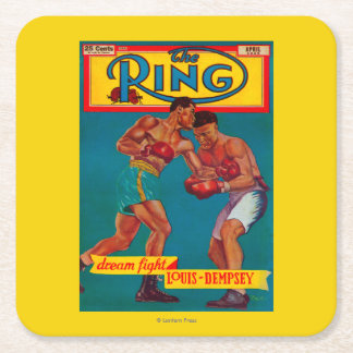 The Ring Magazine Cover Square Paper Coaster