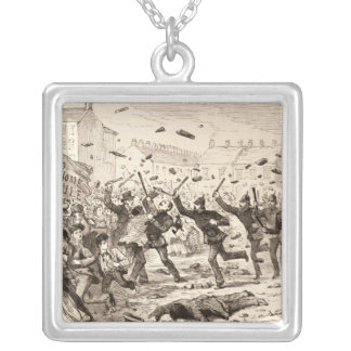The Riots in Belfast Square Pendant Necklace
