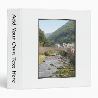 The River and Bridge in Lynmouth, Devon, England. 3 Ring Binder