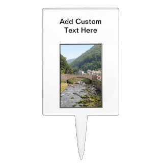 The River and Bridge in Lynmouth, Devon, England. Cake Topper