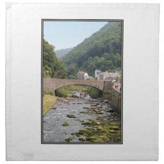 The River and Bridge in Lynmouth, Devon, England. Cloth Napkin