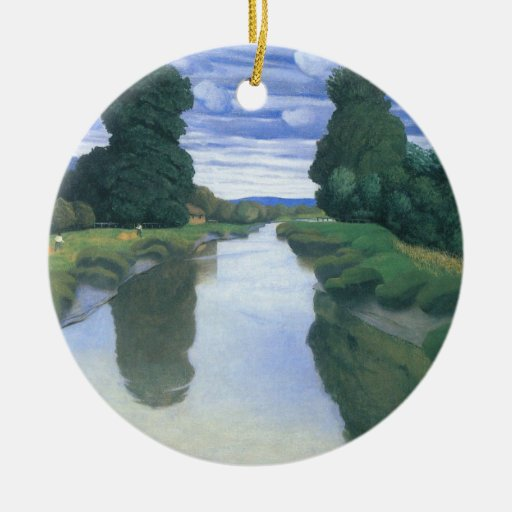 The River at Berville by Felix Vallotton Christmas Tree Ornament