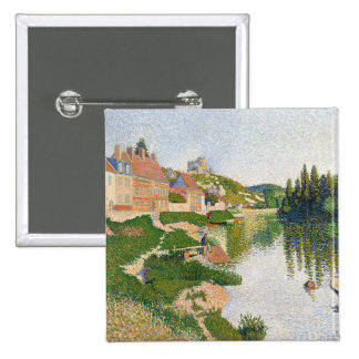 The River Bank, Petit-Andely, 1886 2 Inch Square Button