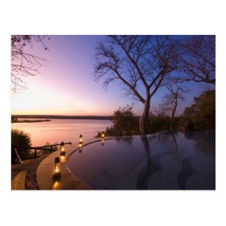 The River Club lodge, sunset on Zambesi River, Postcard