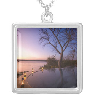 The River Club lodge, sunset on Zambesi River, Silver Plated Necklace