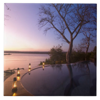 The River Club lodge, sunset on Zambesi River, Tile