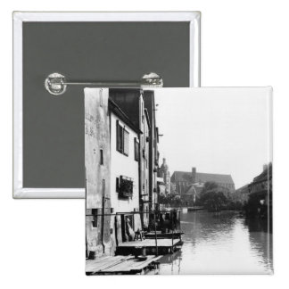 The River Gera at Erfurt, Thiringia, c.1910 Button