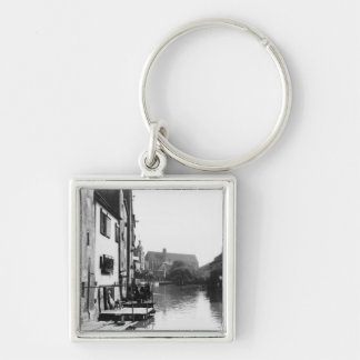 The River Gera at Erfurt, Thiringia, c.1910 Silver-Colored Square Keychain