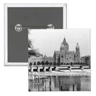 The river Isar at Munich, c.1910 2 Inch Square Button