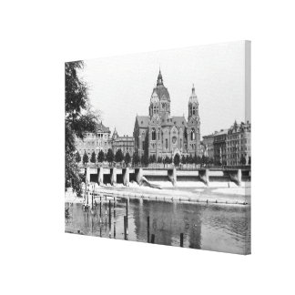 The river Isar at Munich, c.1910 Canvas Print