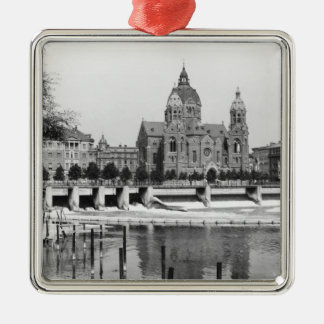 The river Isar at Munich, c.1910 Square Metal Christmas Ornament