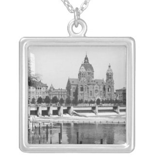 The river Isar at Munich, c.1910 Silver Plated Necklace