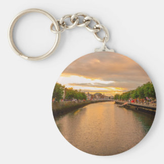 The River Liffey Sunset Tom Wurl Basic Round Button Keychain