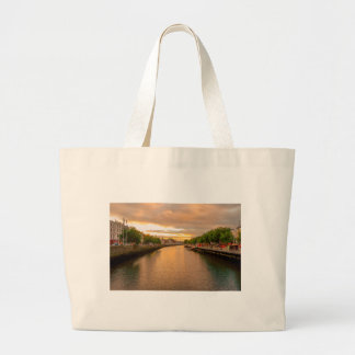 The River Liffey Sunset Tom Wurl Large Tote Bag