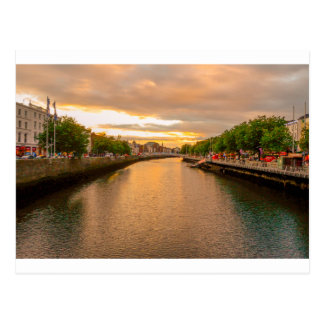 The River Liffey Sunset Tom Wurl Postcard