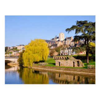 The river Sarthe at Le Mans in France Postcard