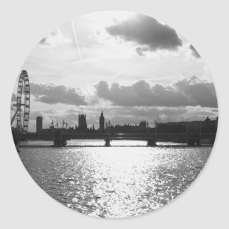 The River Thames and London mono Classic Round Sticker