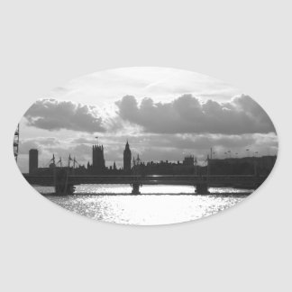 The River Thames and London mono Oval Sticker