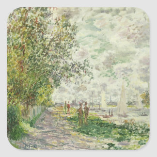 The Riverbank at Gennevilliers c 1875 oil on can Square Sticker