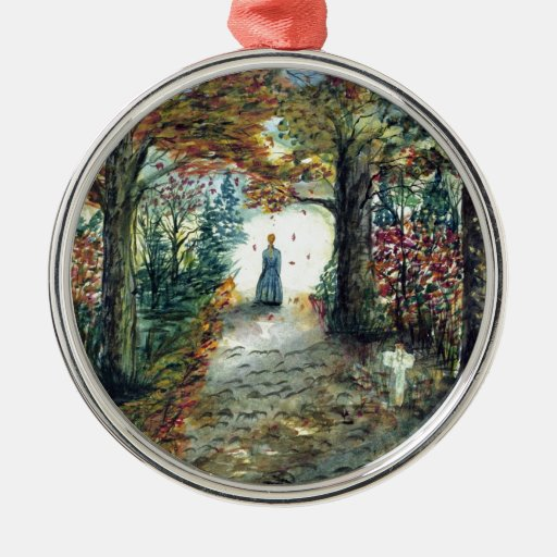 The Road Home  autumn watercolor Round Metal Christmas Ornament