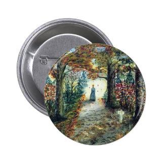 The Road Home  autumn watercolor Pinback Button