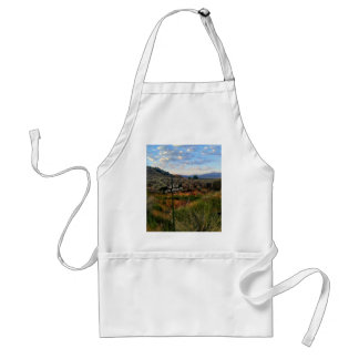 'The Road Less Traveled' Sign Mountain Desertscape Adult Apron