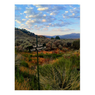 'The Road Less Traveled' Sign Mountain Desertscape Postcard