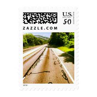 The road meets the trees stamp