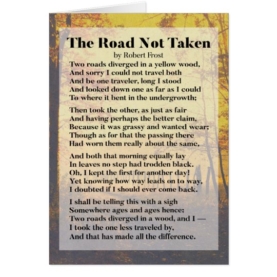 graphic about The Road Not Taken Printable known as The Street Not Taken - Robert Frost Poem Card