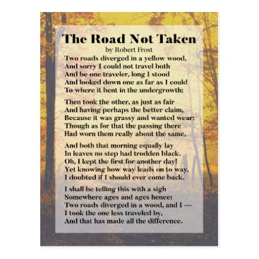 wordstolivebydesign The Road Not Taken - Robert Frost Poem postcard