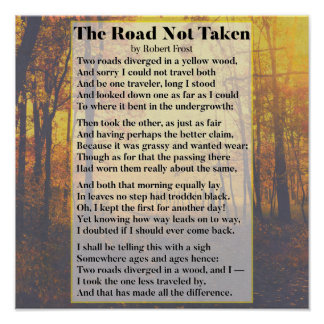 The Road Not Taken - Robert Frost Poem Poster