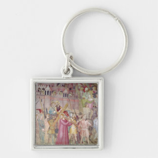 The Road to Calvary, from the Spanish Chapel Silver-Colored Square Keychain
