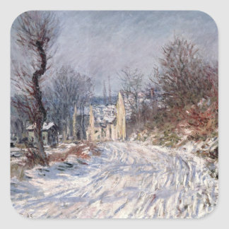 The Road to Giverny, Winter, 1885 Square Sticker