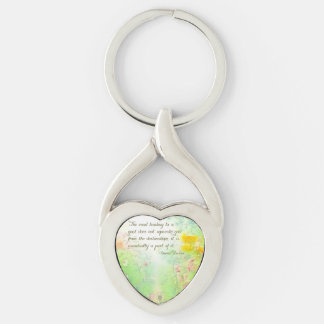 The Road to Goals Silver-Colored Heart-Shaped Metal Keychain