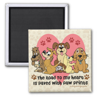 The Road To My Heart Dog Paw Prints 2 Inch Square Magnet