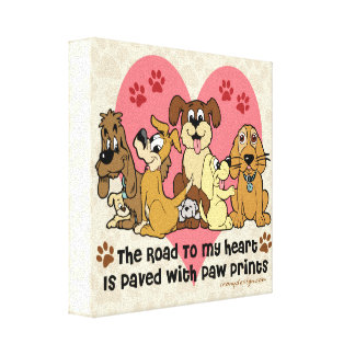 The Road To My Heart Dog Paw Prints Canvas Print