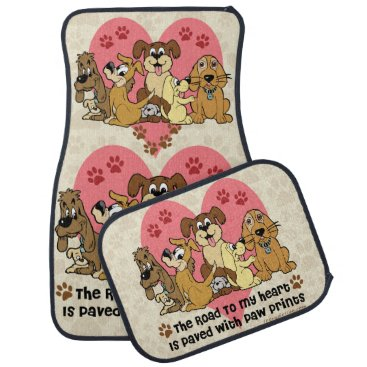 Valentines Themed The Road To My Heart Dog Paw Prints Car Floor Mat